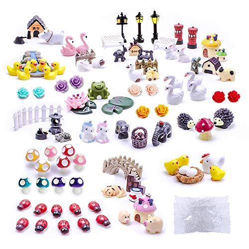 Dracarys Selected 100 Pieces Fairy Garden Accessories, Fairy Garden Kit, Fairy Garden Animals, Miniature Figurines…