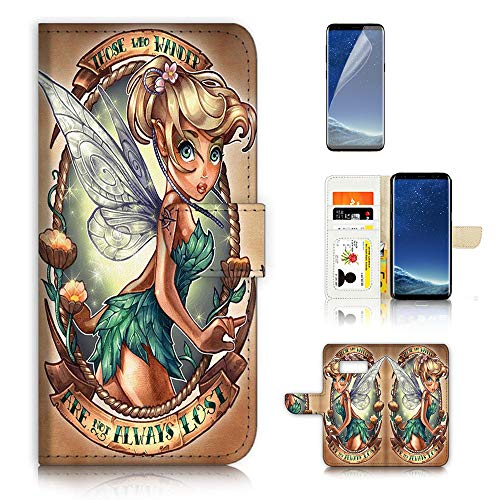 (for Samsung S8+ / Galaxy S8 Plus) Flip Wallet Case Cover & Screen Protector Bundle - A21612 Tinkerbell