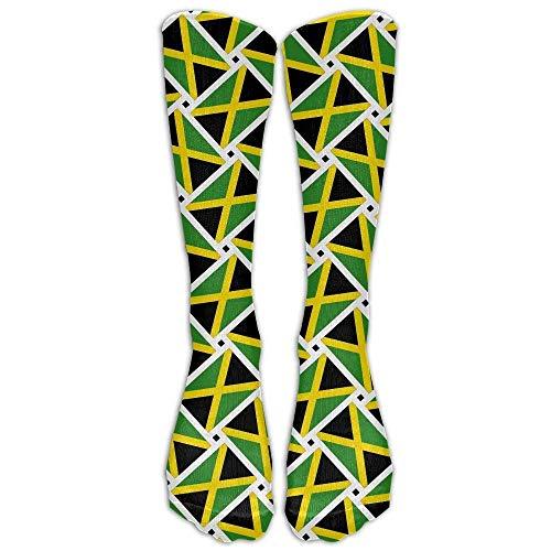 Women Casual High Knee Socks Jamaica Flag Weave Compression Soccer Splints Girl Warm Sports Stockings for Travel,Varicose Veins,Pregnancy,Running ()