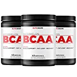 BCAA by Elite Shape | Fruit Flavored Branched Chain Amino Acid Dietary Supplement | Increase Recovery Times and Promotes Muscle Growth | 45 Servings 2:1:1 4000mg (3 Pack, Watermelon)