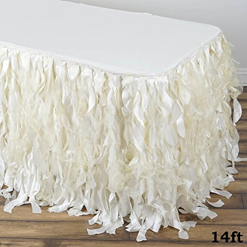 Tableclothsfactory 14ft Enchanting Curly Willow Taffeta Table Skirt - -
