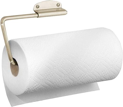 Soporte para Papel y pa/ños o toallero Plateado Mate Ideal como portarrollos de Pared o armarios Almacenaje para el Rollo de Cocina mDesign Portarrollos de Cocina
