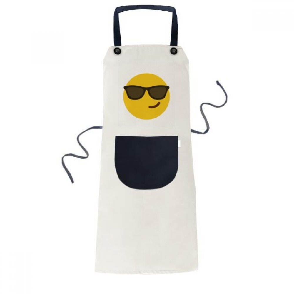 DIYthinker Sunglass Cool Yellow Cute Online Chat Apron Cooking Bib Black Kitchen Pocket Women Men