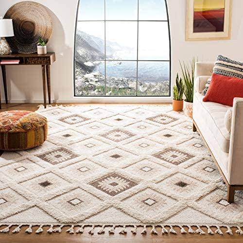 Safavieh Moroccan Tassel Shag Collection MTS601A-10 2-inch Thick Area Rug 10' x 14' Ivory/Brown