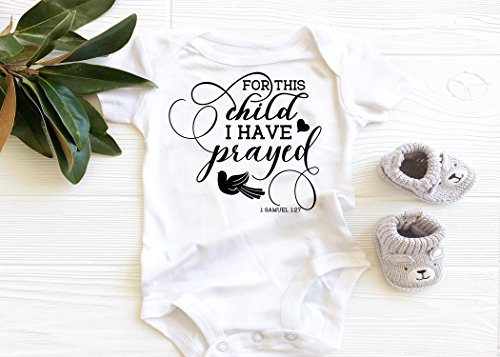For this Child I have Prayed Baby Bodysuit, Christian Faith Scripture Onesie, boho baby by Blessed Graphics LLC