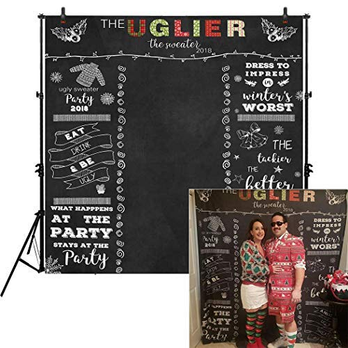 Allenjoy 8x8ft Ugly Sweater Backdrop 2018 Winter Tacky Holiday Party Chalkboard Photo Booth for Adults Celebration Festive Christmas Xmas Happy New Year Background Home Decor Photoshoot
