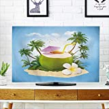 PRUNUS tv dust Cover Fresh Coconut on a Sand with Palms Travel Background Dust Resistant Television Protector W19 x H30 INCH/TV 32''