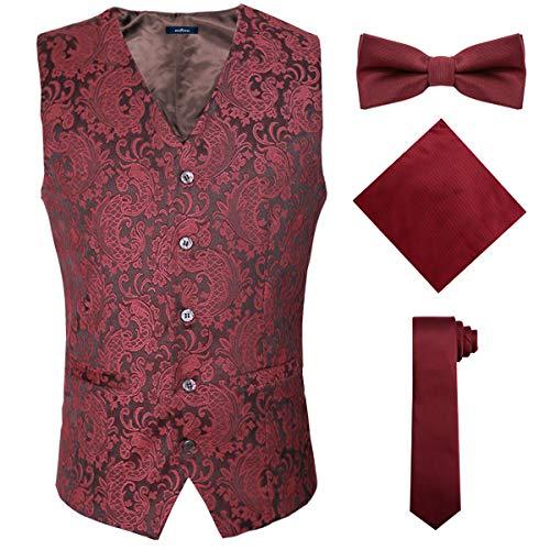 4 in 1 Patterned Design Burgundy Dress Vests for Men,Red,XL