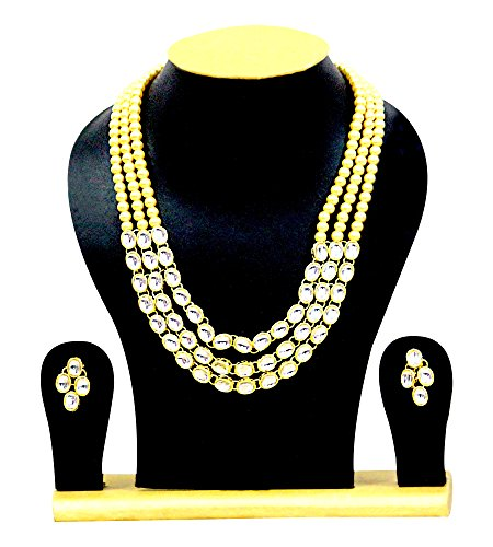 Exclusive Jewellery Indian Bollywood Necklace Set Earring Elegant Wedding Wear Golden Pearl Kundan Women Jewelry