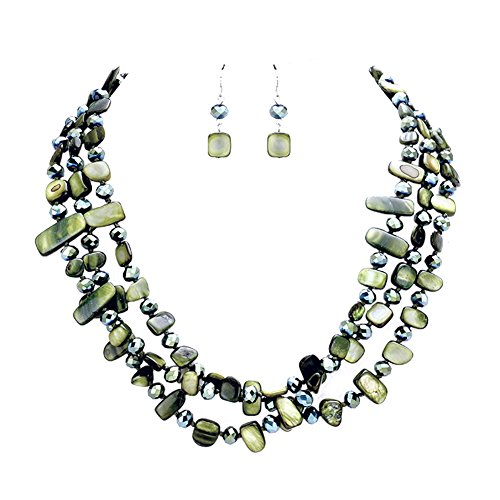 "Hush Variegated Dark Green 3 Strand Knotted Shell & Glass Bead Bib Statement Necklace 17"" w/Earrings"