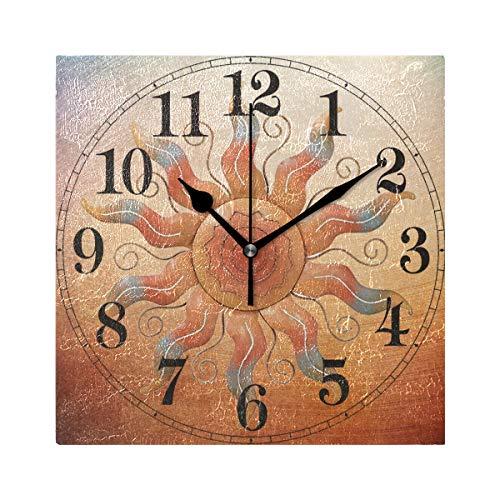 (YOYUPRO Square Clock Wall Art - Southwest Sun Wall Art Clock 8
