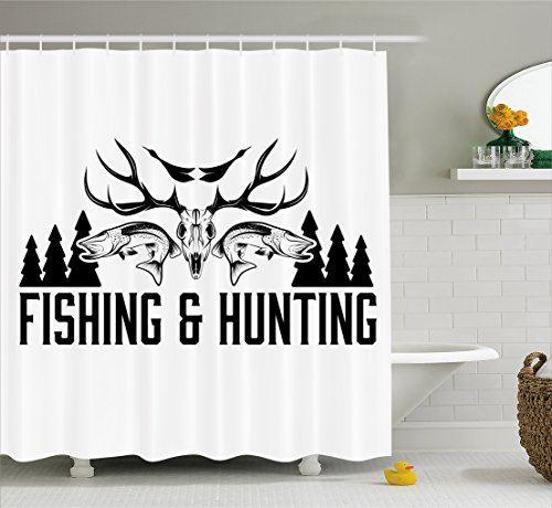 Hunting Design - Ambesonne Hunting Decor Shower Curtain, Hunting and Fishing Vintage Emblem Design Antler Horns Mallard Pine Tree, Fabric Bathroom Decor Set with Hooks, 84 Inches Extra Long, Black and White