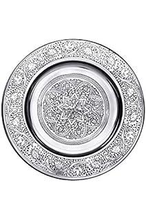Bandeja oriental redonda hecha de metal Sidra 30cm - Bandeja de té marroquí en el color