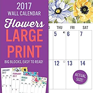 2017 Monthly Wall Calendar - Flowers Large Print