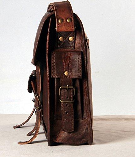 SKH Men's Genuine Vintage Brown Leather Messenger Shoulder Laptop Bag