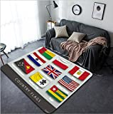 Vanfan Design Home Decorative 384870295 wave country flag with shadows and screws Modern Non-Slip Doormats Carpet for Living Dining Room Bedroom Hallway Office Easy Clean Footcloth