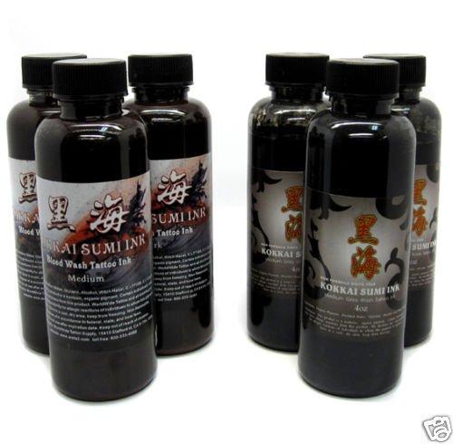 KOKKAI SUMI GREY & BLOOD WASH Shading Tattoo Ink (6-Pack Set)