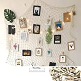 Vintage Jute Photo Hanging display with 30 Wooden Clips - Jute Fishing Net Wall Decor - Picture Frames & Prints Photo Organizer & Collage Artworks - Nautical Decorative Dorm Bedroom Christmas Decorati
