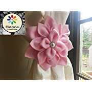 Handmade ONE Dahlia Flower Curtain Tieback, Kanzashi Unique Design, Floral Nursery Holdback Home Decoration, Baby Shower Wedding Gift Decor, Pearl Rhinestones embellishment (Baby Pink)
