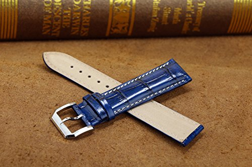 741a093279c 22mm Shiny Blue High-end Leather Watch Straps Oily Glossy Vintage Style  Grosgrain with White Contrast Stitching