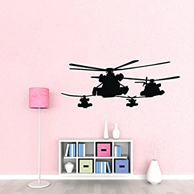 Olivia Helicopter Wall Decals Removable Military Helicopter silhouette Graphic Wall Stickers Vinyl Wall Tattoos Home Decor Art for Boys Girls Kids Bedroom Baby Nursery Living Room Decorations