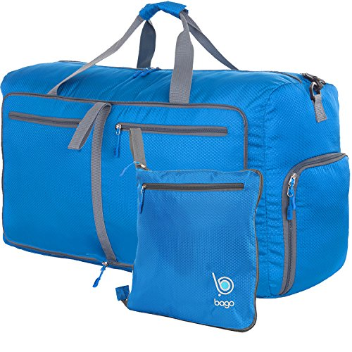 Bago Travel Duffle Bag For Women & Men - Foldable Duffel Bags For Luggage Gym Sports (Large 27'',Blue) by bago