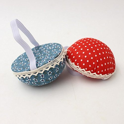 Chris.W Fabric Coated Wrist Wearable Sewing Pin Cushions Needles Pincushions for Handy Needlework DIY Craft, Pack of 2(Red Dot + Blue Flower) 4337009577