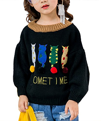 Toddler Baby Girl Knit Sweater Cute Cat Tunic Kid Pullover Knitted Sweater  130Cm  Black