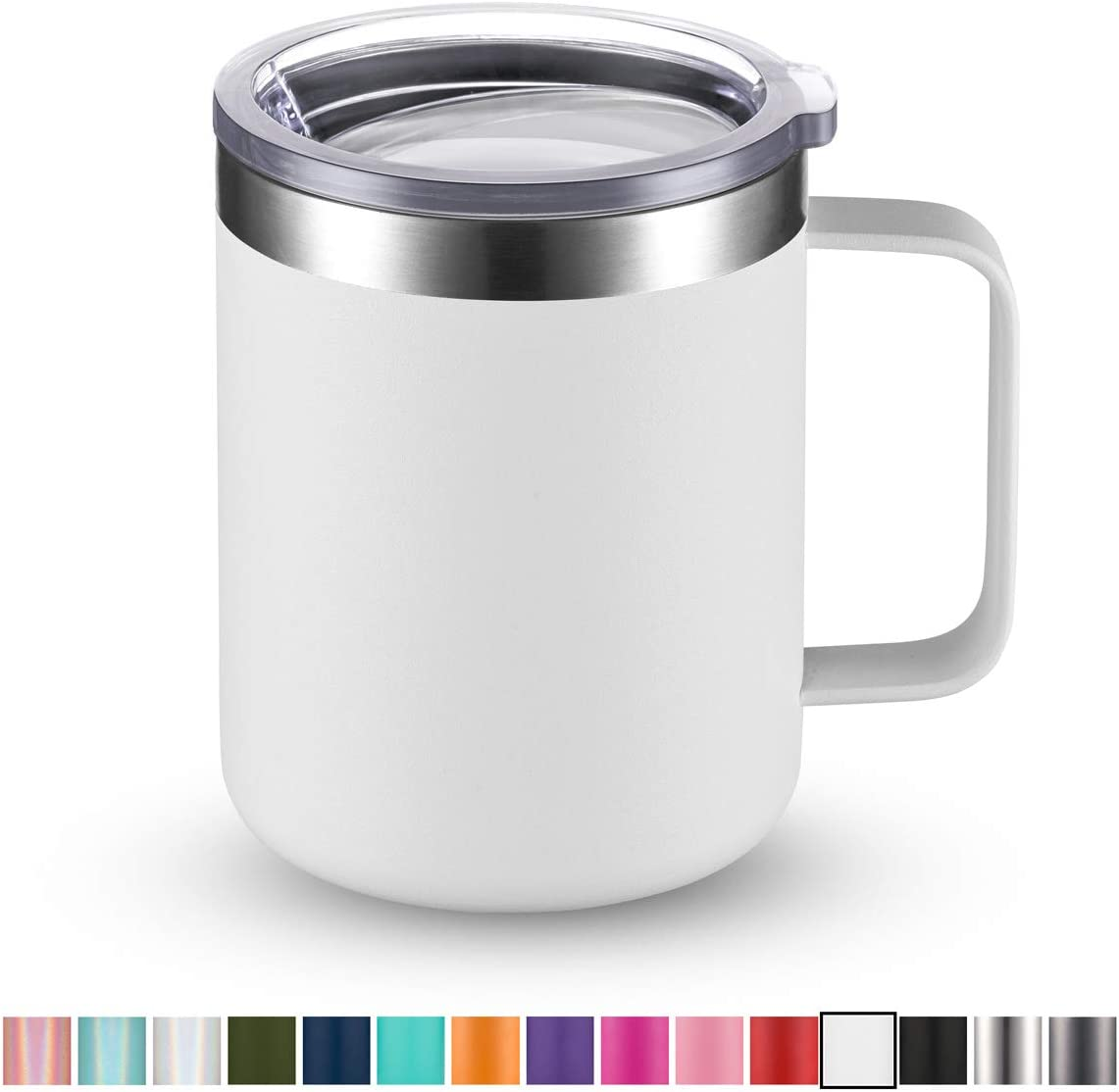 Civago Stainless Steel Coffee Mug Cup with Handle, 12 oz Double Wall Vacuum Insulated Tumbler with Lid Travel Friendly (White, 1 Pack)