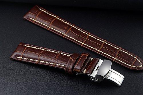 19 mm marrón de lujo correas reloj de repuesto/bandas de piel italiana Hecho a mano con bordado de color blanco: Amazon.es: Relojes