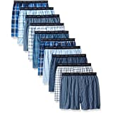 Hanes Red Label Men's Tartan Boxer with Exposed Waistband, Assorted-10 Pack, Meduim