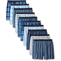 Hanes Men's 10-Pack Tartan Boxer With Exposed Waistband, Assorted, Meduim
