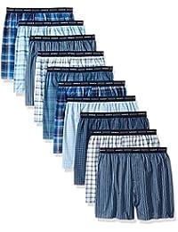 Hanes Red Label Men's 10-Pack Blue Plaid Woven Boxer