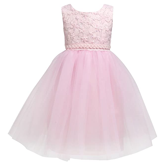 63ae76416298 Merry Day Flower Baby Girl Lace Dress - Kids Princess Pageant Party Wedding  Dresses Pink S