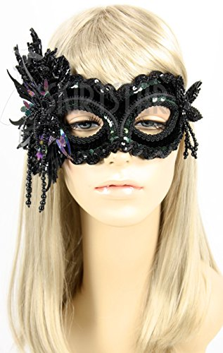 Handmade in The USA Beaded Masquerade Mask (Black) ()