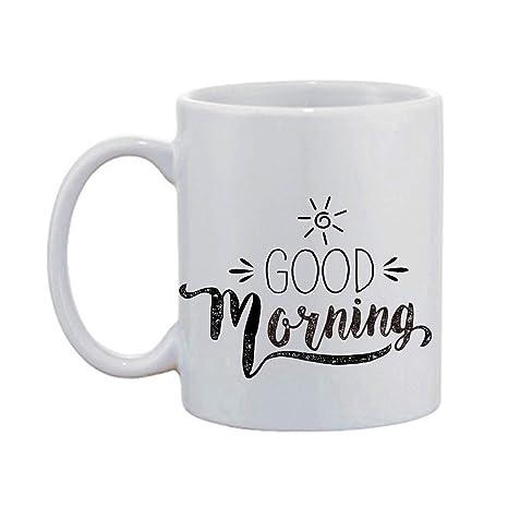 Amazon com: Artsbaba White Mug Good Morning Mug Ceramic