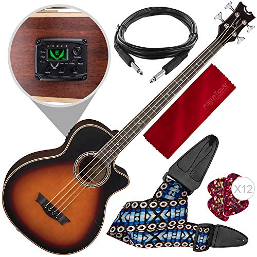 Dean Exotica Supreme Cutaway Acoustic-Electric Bass, Tobacco Sunburst with Guitar Strap & Accessory Bundle