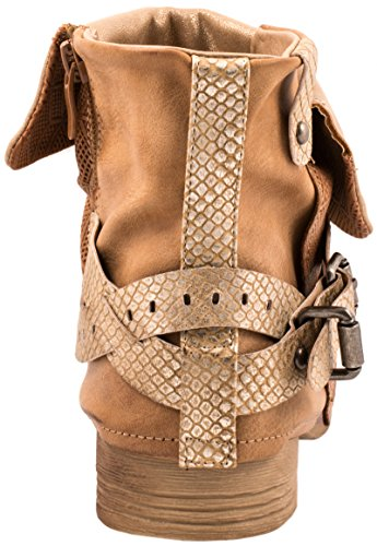 Comfortable Studded Ryan Womens Boots Print Metallic Elara Biker Chunky Camel qFBIwI5
