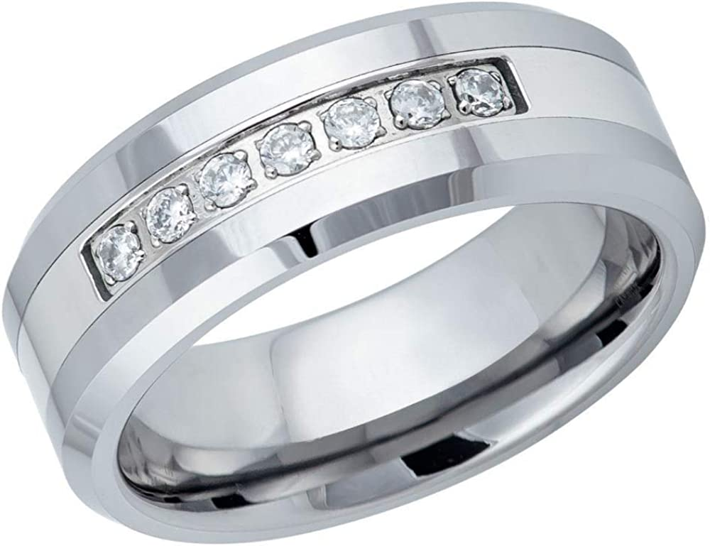 with 7 Prong-Set Round CZs Comfort Fit Tungsten Carbide Anniversary Ring TosowebOnline Mens 8mm Polished Finish