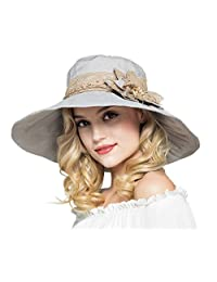Elonglin Womens Wide Brim Beach Hat Sun Hat with Lace Flower Cap Anti-UV 4ae380cefb73