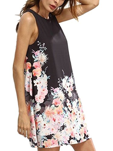 Print Sleeveless Tank Casual Mini Black Beach Jaycargogo Sundress Dresses Floral Womens 8YI8q67