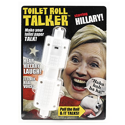 Hillary Clinton Toilet Roll Talker - Makes Regular Toilet Paper Laugh with Hillary's REAL VOICE - Hilarious Gag Gift for Hillary & Donald Trump Fans - Bathroom Joke Gift - Funny Gift for any Holiday