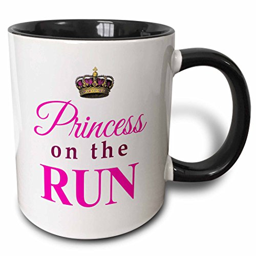 3dRose mug_161534_4 Princess on the Run White Hot pink text gold crown girly girl woman runner running race racing Two Tone Black Mug, 11 oz, Black/White