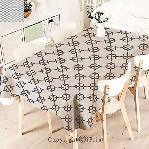 Floral Fusion Square (Modern Decor Tablecloth, Eastern Geometric Abstract Floral Pattern Squares,Graphic Fusion Artwork, Dining Room Kitchen Rectangular Table Cover,W55 xL71,Grey Beige)