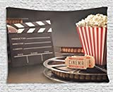 Movie Theater Tapestry, Old Fashion Entertainment Objects Related to Cinema Film Reel Motion Picture, Wall Hanging for Bedroom Living Room Dorm, 60 W X 40 L Inches, Multicolor