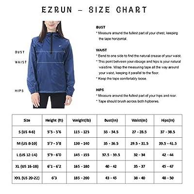 EZRUN Women's Waterproof Hooded Rain Jacket Windbreaker Lightweight Packable Rain Coats: Clothing