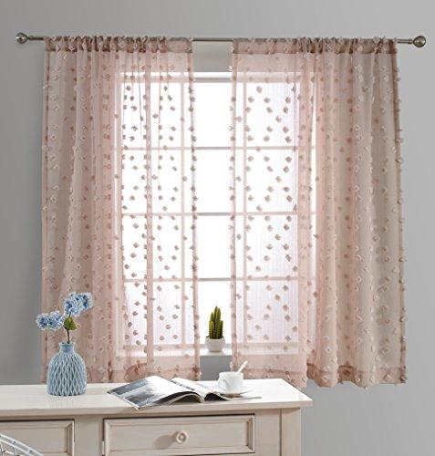 MYSKY HOME Short Sheer Curtains for Bedroom by Rhombus Pom Pom Design Rod Pocket Sheer Panels, Pink, Set of 2 Curtain Panels