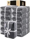 Utopia Towels Premium 80 Piece Towel Set Bulk - 20 Bath Towels Bulk, 20 Hand Towels Bulk and 40 Washcloths Bulk, Dark Grey