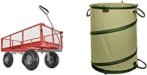 Gorilla Carts GOR800-COM Steel Utility Cart with Removable Sides, 800-lbs. Capacity, Red & Fiskars Kangaroo Collapsible Container Gardening Bag, 30 Gallon, Green (394050-1004)