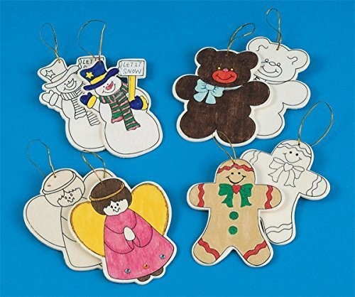 S&S Worldwide CF-4410A Unfinished Wooden Christmas Ornaments (Pack of 48)